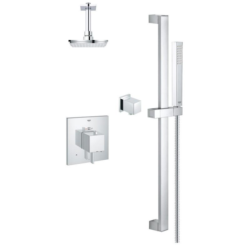 Grohe 118050 – Modern Square Dual Shower System with Thermostatic Temperature Control Valve.