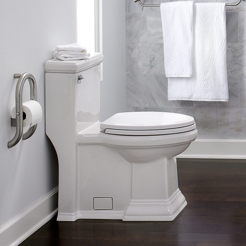 American Standard 2847128.020 – Town Square with Flowise, Right Height Elongated One-Piece Toilet