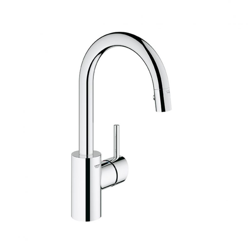 Grohe 31479000 – Concetto Dual Spray Pull Down 360° Swivel Area Prep Faucet, for Bar Sinks.