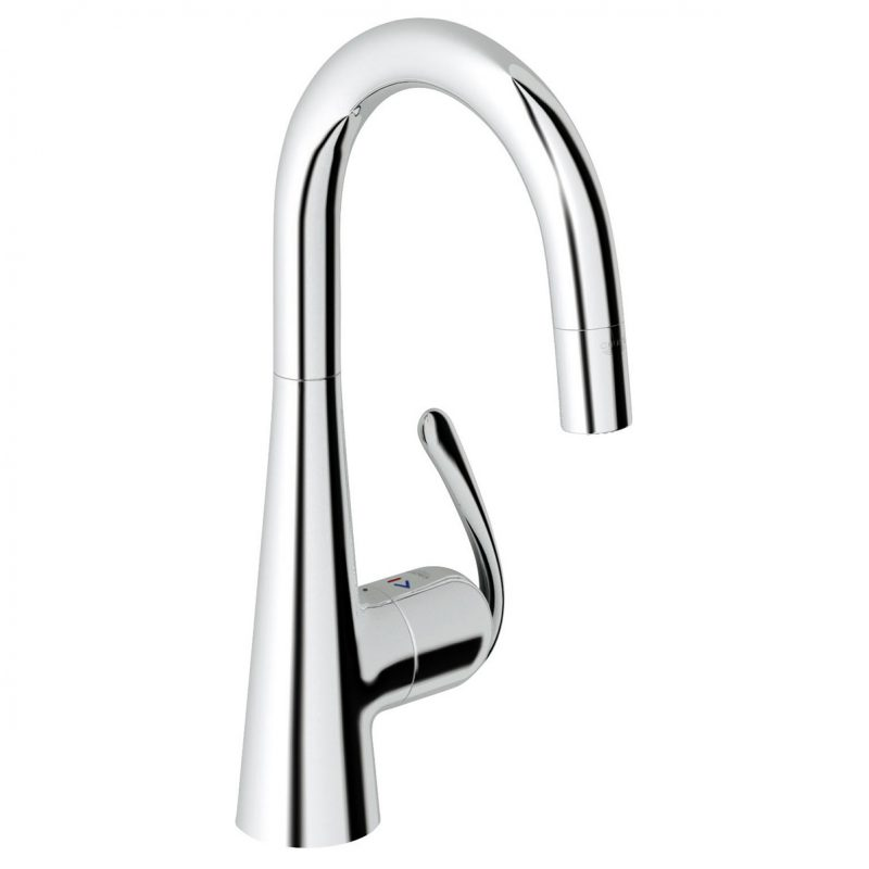 Grohe 32283000 – Ladylux Pro Single Hole Pull Down Faucet with Adjustable Flow Rate Limiter, for Kitchen.