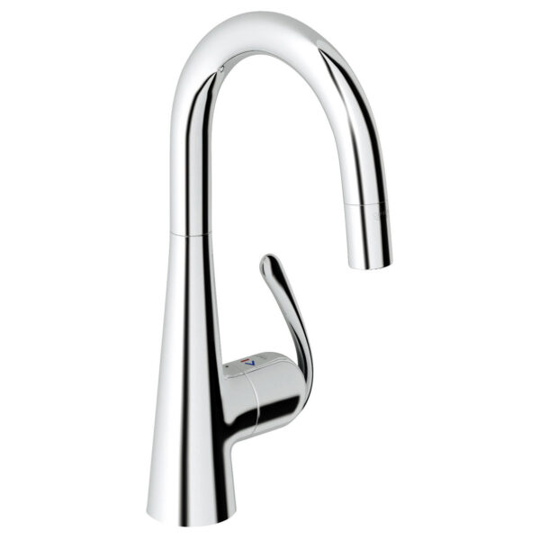 Grohe 32283000 - Ladylux Pro Single Hole Pull Down Faucet with Adjustable Flow Rate Limiter, for Kitchen.