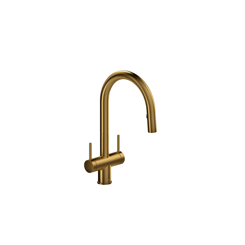 Riobel AZ801 – Kitchen Faucet with Spray, in Black, Brushed Gold, Stainless Steel and Chrome.