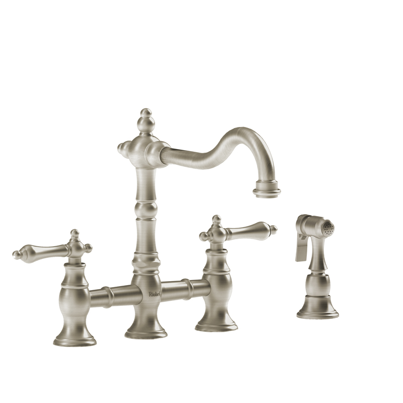 Riobel BR400LBN – Bridge Ktchen Faucet with Spray