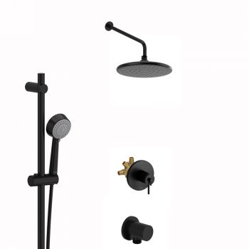 Riobel R93 + P5002BK + P428BK + P503BK + P775BK + TCO93BK - Shower Kit (Black)