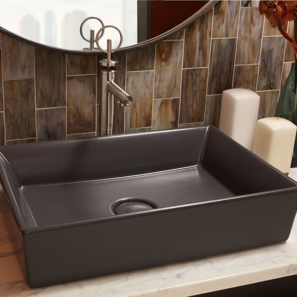 Pop Rectangle Vessel Bathroom Sink, Rectangular Vessel Bathroom Sink