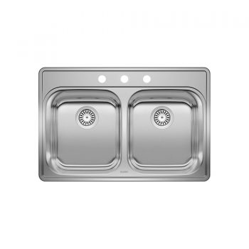 BLANCO 400003 – ESSENTIAL 2 (3 Holes) Drop-in Kitchen Sink