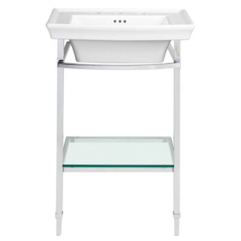 "DXV WYATT 24"" LAVATORY WITH CONSOLE TABLE WITH GLASS SHELF 3 HOLE"
