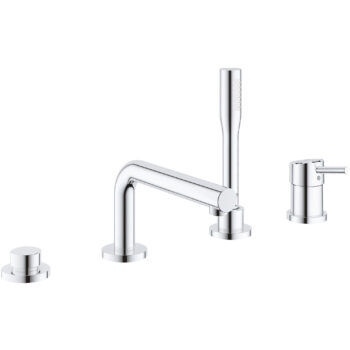 Grohe 19576002 – 4-Hole Single-Handle Deck Mount Roman Tub Faucet with Hand Shower