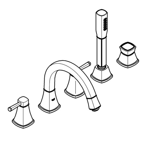 Grohe 1991900A - 5-Hole 2-Handle Deck Mount Roman Tub Faucet with Hand Shower