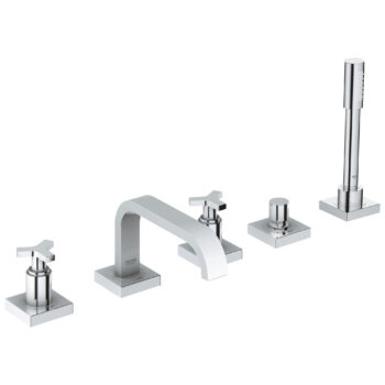 Grohe 25083001 – 5-Hole 2-Handle Deck Mount Roman Tub Faucet with Hand Shower