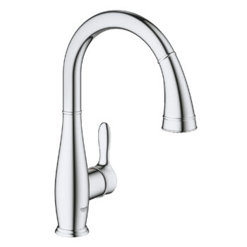 Grohe 30213001 – Single-Handle Pull Down Kitchen Faucet Dual Spray 6.6 L/min (1.75 gpm)