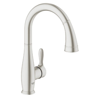 Grohe 30213DC1 – Single-Handle Pull Down Kitchen Faucet Dual Spray 6.6 L/min (1.75 gpm)