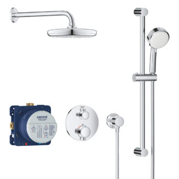 Grohe 34745000 – Round Thermostatic Shower Kit, 27 L/min (7.1 gpm)