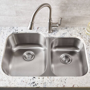 American Standard 18CR.9322100S.075 – Portsmouth 31×20-inch Offset Double Bowl Stainless Steel Kitchen Sink