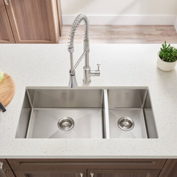 American Standard 18CR.9351800.075 – Pekoe 35×18-inch Offset Double Bowl Stainless Steel Kitchen Sink