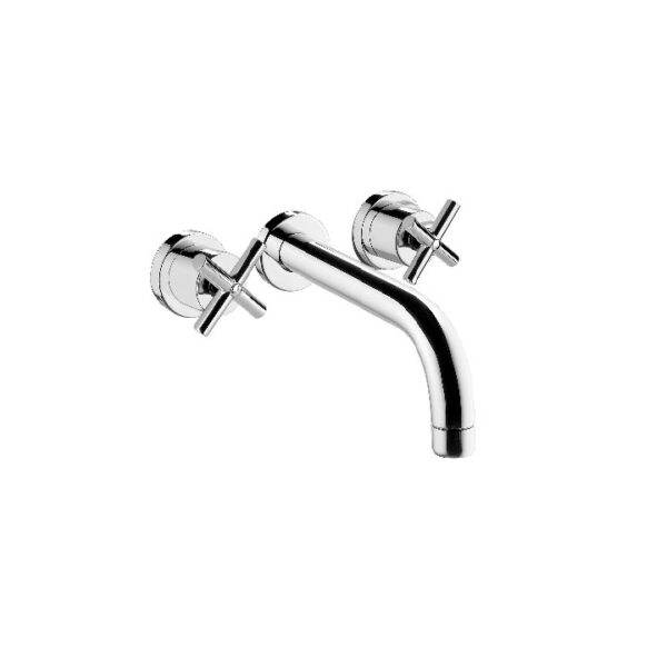 AQUADESIGN-TEMPO WALL MOUNT LAVATORY FAUCET NO DRAIN KIT  BRUSHED GOLD