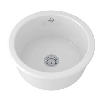 SHAWS 18″ LANCASTER SINGLE BOWL ROUND BAR/FOOD PREP FIRECLAY KITCHEN SINK -WHITE