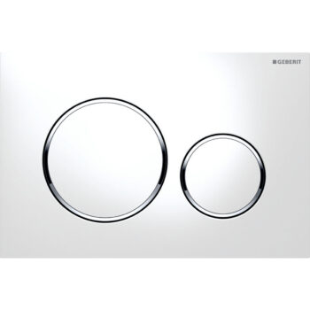 Geberit actuator plate Sigma20 for dual flush: white / bright chrome / white