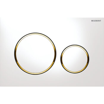 Geberit actuator plate Sigma20 for dual flush: white / gold-plated / white