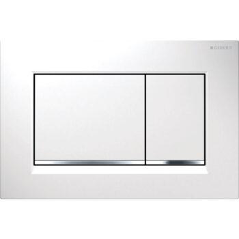 Geberit actuator plate Sigma30 for dual flush: white / bright chrome / white