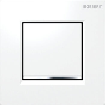 Geberit urinal flush control with pneumatic flush actuation, actuator plate type 30: white / bright chrome / white