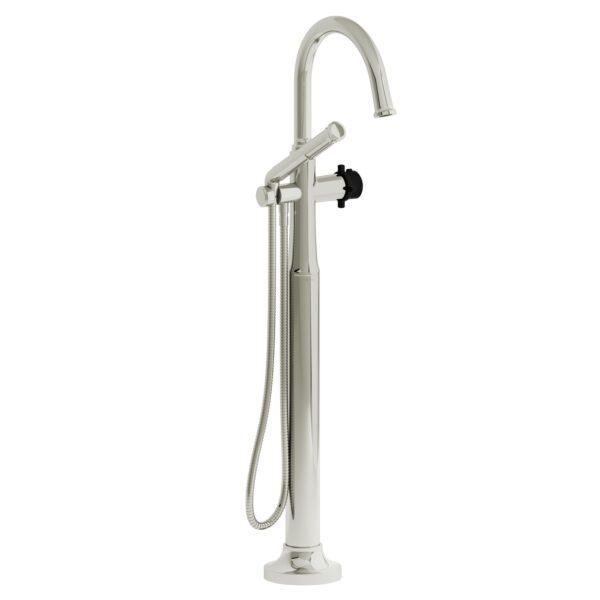 Riobel MMRD39+PNBK-EX - 2-way Type T  floor-mount tub filler with hand shower