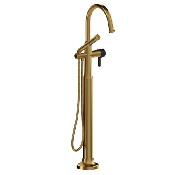 Riobel MMRD39JBGBK - 2-way Type T  floor-mount tub filler with hand shower