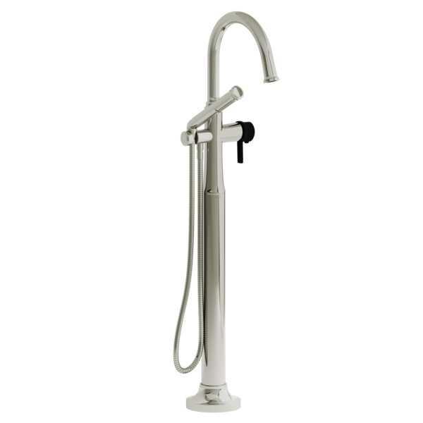 Riobel MMRD39JPNBK - 2-way Type T  floor-mount tub filler with hand shower