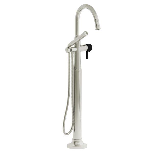 Riobel MMRD39JPNBK-EX - 2-way Type T  floor-mount tub filler with hand shower
