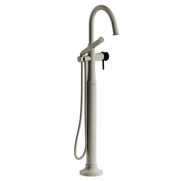 Riobel MMRD39LBNBK-EX - 2-way Type T  floor-mount tub filler with hand shower