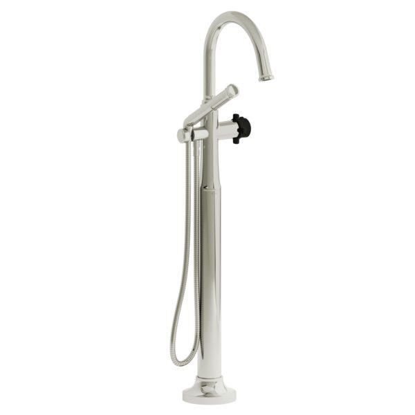 Riobel MMRD39XPNBK-EX - 2-way Type T  floor-mount tub filler with hand shower