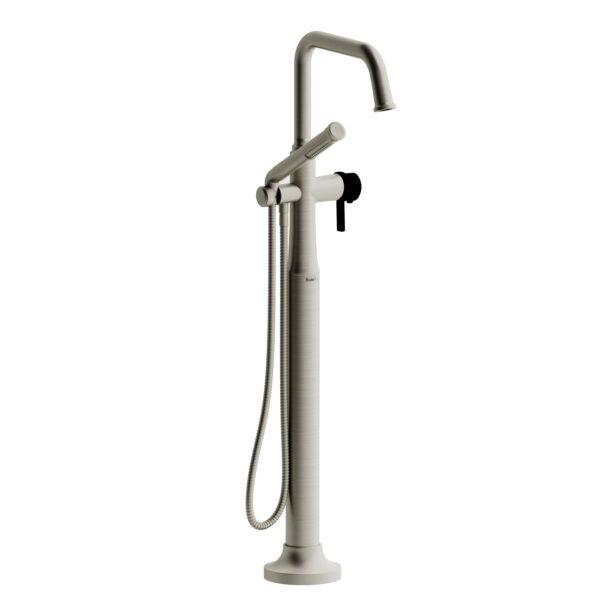 Riobel MMSQ39JBNBK - 2-way Type T  floor-mount tub filler with hand shower