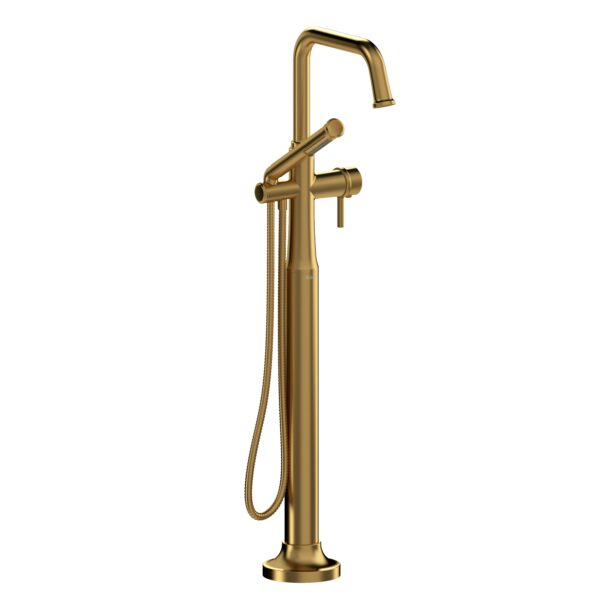 Riobel MMSQ39LBG - 2-way Type T  floor-mount tub filler with hand shower