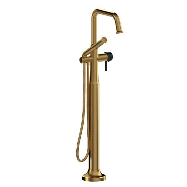 Riobel MMSQ39LBGBK-EX - 2-way Type T  floor-mount tub filler with hand shower
