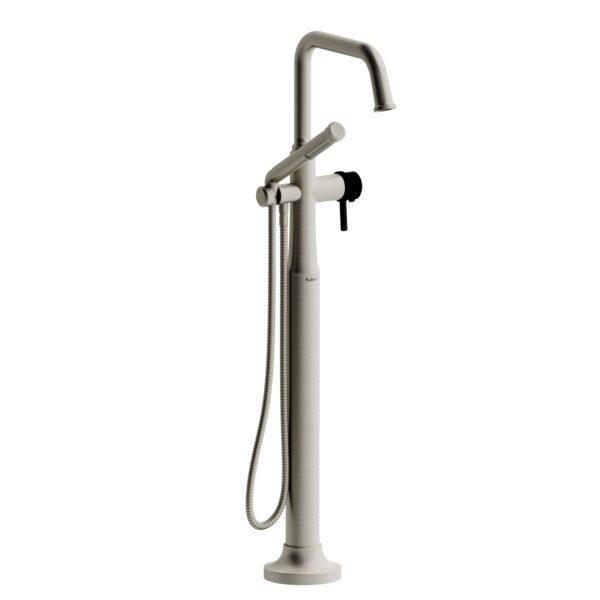 Riobel MMSQ39LBNBK - 2-way Type T  floor-mount tub filler with hand shower