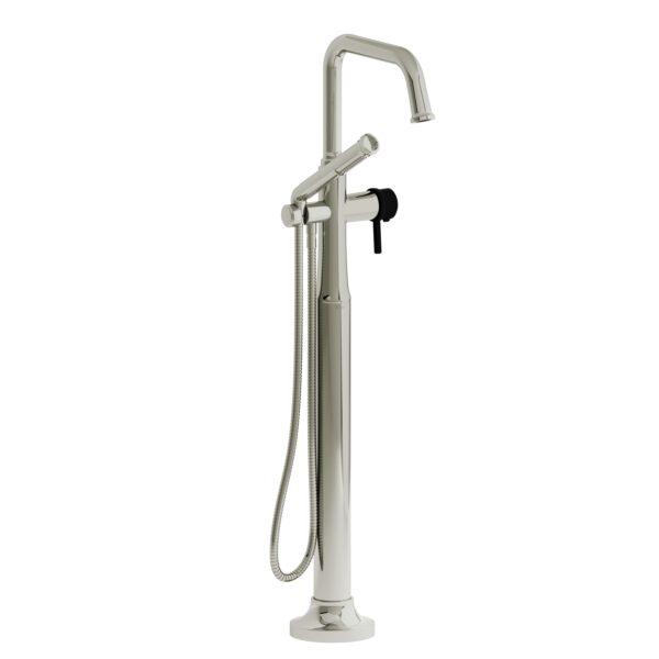 Riobel MMSQ39LPNBK - 2-way Type T  floor-mount tub filler with hand shower