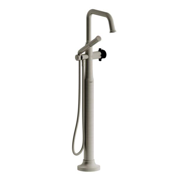 Riobel MMSQ39XBNBK - 2-way Type T  floor-mount tub filler with hand shower