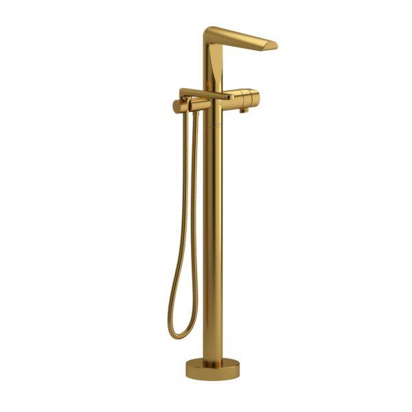 Riobel PB39BG - 2-way Type T  floor-mount tub filler with hand shower