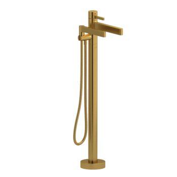 Riobel PX39BG-EX – 2-way Type T  floor-mount tub filler with hand shower