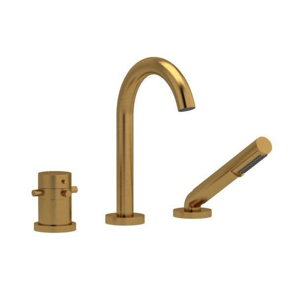 Riobel RU19+BG - 2-way 3-piece Type T  deck-mount tub filler with hand shower