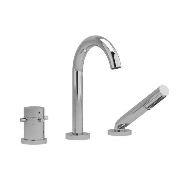 Riobel RU19+C - 2-way 3-piece Type T  deck-mount tub filler with hand shower