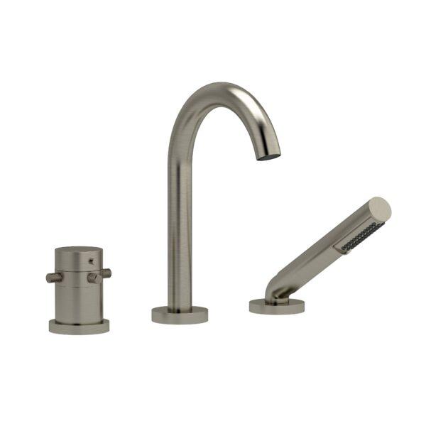 Riobel RU19+KNBN - 2-way 3-piece Type T  deck-mount tub filler with hand shower
