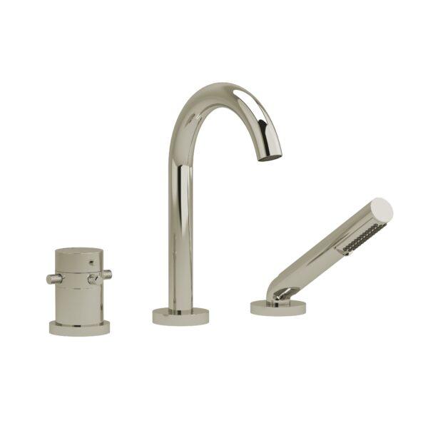 Riobel RU19+KNPN - 2-way 3-piece Type T  deck-mount tub filler with hand shower