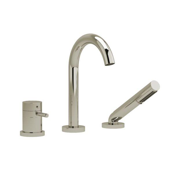 Riobel RU19KNPN - 2-way 3-piece Type T  deck-mount tub filler with hand shower