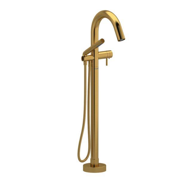 Riobel RU39BG - 2-way Type T  floor-mount tub filler with hand shower