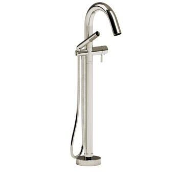 Riobel RU39PN-EX – 2-way Type T  floor-mount tub filler with hand shower