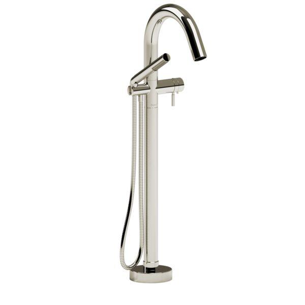 Riobel RU39PN-EX - 2-way Type T  floor-mount tub filler with hand shower